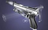 1 Pistole mit Schalldämpfer